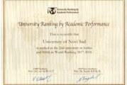 Univerzitet u Novom Sadu rangiran na svetskoj rang listi univerziteta prema akademskim performansama